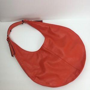 French Connection Orange Leather Hobo Tote Handbag